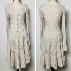 Free People Ivory Knit Duster with Ruffle Hem
